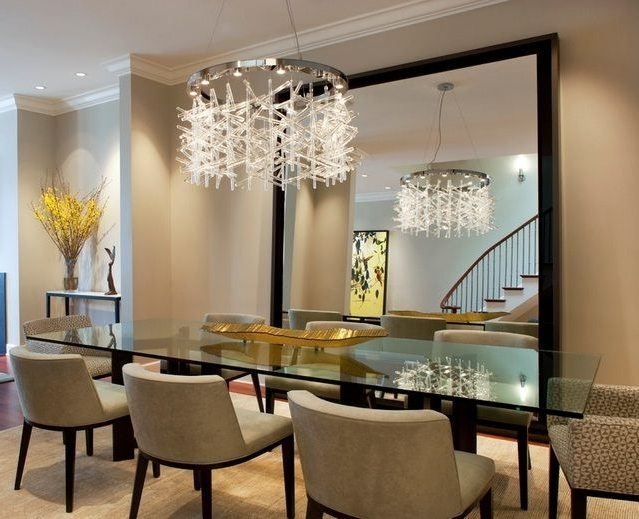 Most Up To Date Modern Crystal Dining Room Chandeliers Combined With Glass Dining Throughout Crystal Dining Tables (View 14 of 20)