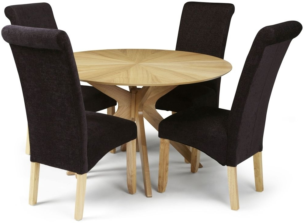 Most Up To Date Oak Fabric Dining Chairs Throughout Douglas Oak Round Dining Set With 4 Kingston Aubergine Plain Fabric (View 7 of 20)