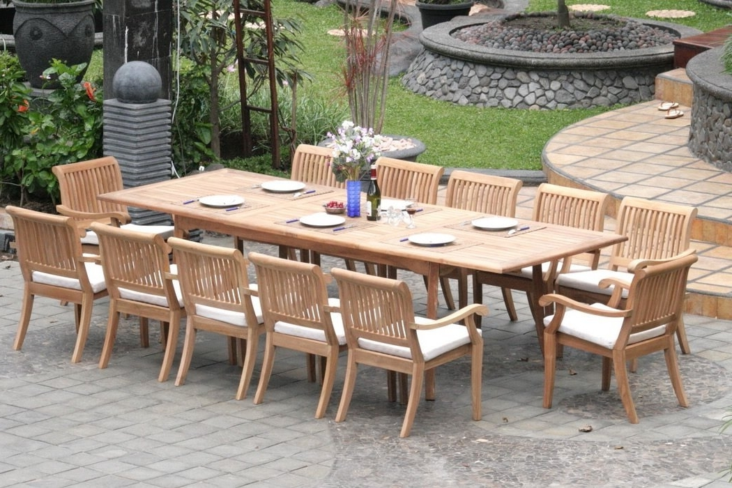 Most Up To Date Outdoor Dining Table And Chairs Sets In Extending Teak Patio Table Vs Fixed Length Dining Table – Pros And (View 10 of 20)