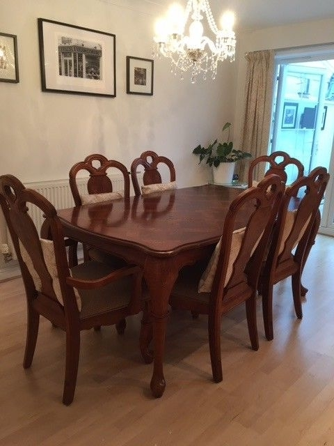 Most Up To Date Rectangular Dark Wood Polished Dining Table 6 Chairs Inc 2 Carvers In Dark Wood Dining Tables And 6 Chairs (View 14 of 20)