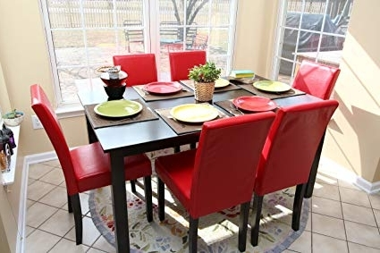 Most Up To Date Red Dining Table Sets With Regard To Amazon – 7 Pc Red Leather 6 Person Table And Chairs Red Dining (View 6 of 20)