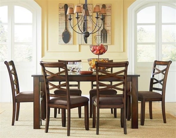 Most Up To Date Redondo Transitional Cherry Wood Fabric Leg Table W/6 Chairs Set With Market 6 Piece Dining Sets With Side Chairs (View 14 of 20)