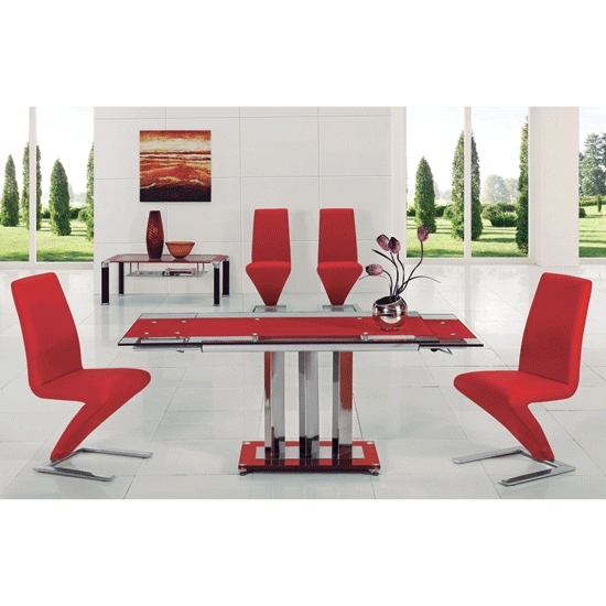 Most Up To Date Rihanna Red Glass Extending Dining Table And 6 Z Dining Intended For Glass Extendable Dining Tables And 6 Chairs (View 14 of 20)