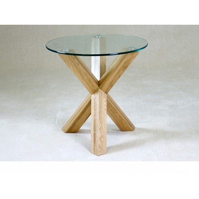 Most Up To Date Round Glass Dining Tables With Oak Legs Throughout Chinon Small Round Glass Dining Table With Oak Wooden Legs – (View 5 of 20)