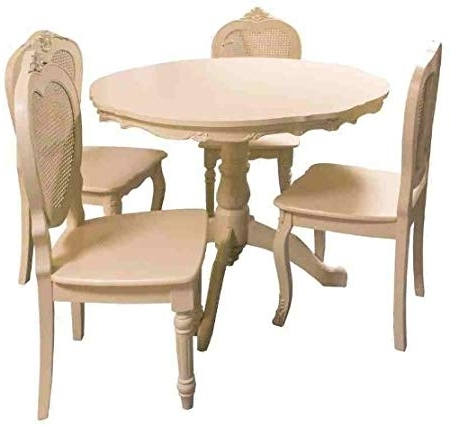 Most Up To Date Shabby Chic Cream Dining Tables And Chairs Inside Bergere French Style Shabby Chic Distressed Antique Cream Round (View 14 of 20)