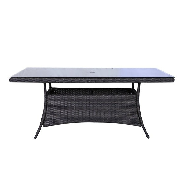Most Up To Date Shop Bora Bora Wicker Rattan Glass Top Dining Table – Free Shipping Throughout Wicker And Glass Dining Tables (View 5 of 20)
