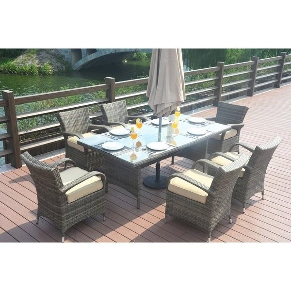 Most Up To Date Shop Madison Outdoor 7 Piece Rectangle Wicker Patio Dining Set With Within Crawford 7 Piece Rectangle Dining Sets (View 15 of 20)