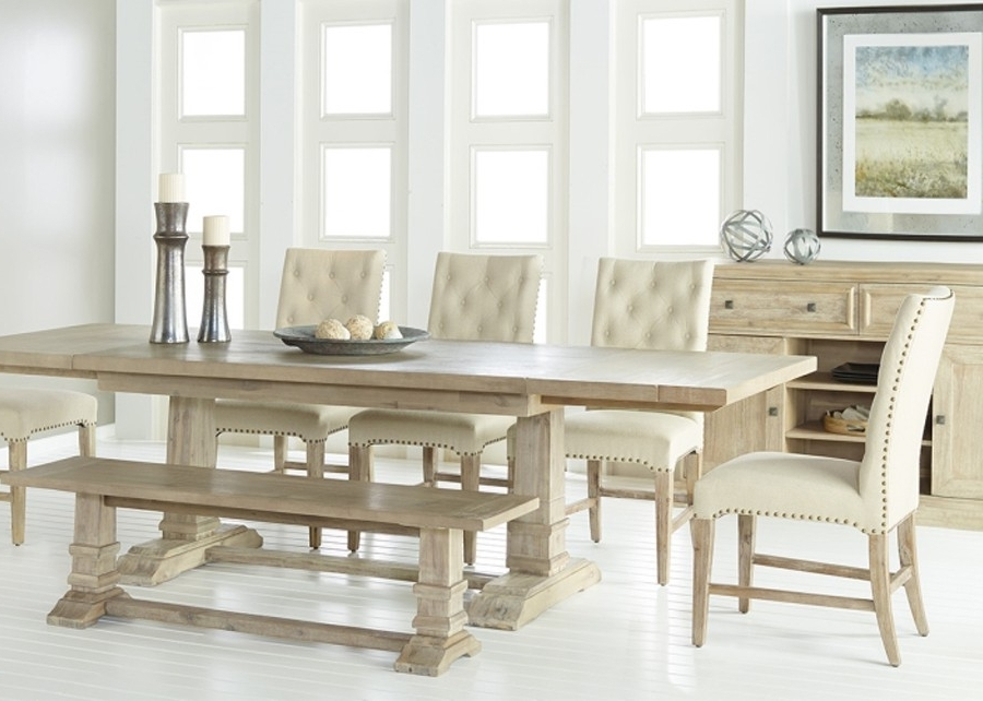 "Most Up To Date Stone Dining Tables Pertaining To Rectangle 78 110"" Length In Stone Wash Dining Table (View 8 of 20)"