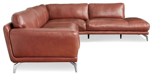 Most Up To Date Tenny Cognac 2 Piece Right Facing Chaise Sectionals With 2 Headrest For Cognac Leather Sectional Sofa (View 3 of 15)