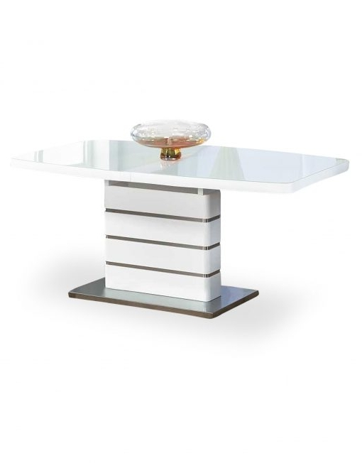 Most Up To Date The Opulent White Glass Extendable Dining Table (View 13 of 20)