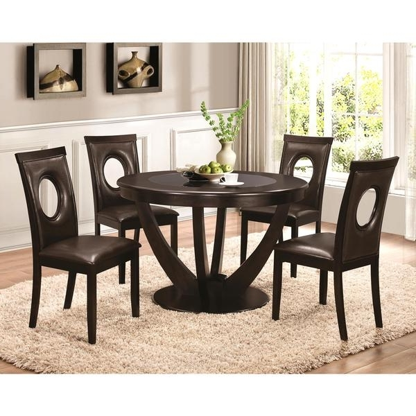 Most Up To Date Valencia 72 Inch 7 Piece Dining Sets With Regard To Shop Valencia Casual 5 Piece Round Dininig Set With Black Tempered (View 6 of 20)
