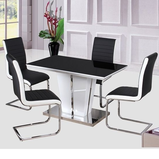 Mozart High Gloss Dining Table With Glass Top Only 120Cm – High With Regard To Most Up To Date White Gloss Dining Tables 120Cm (View 5 of 20)