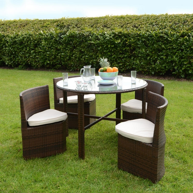 Napoli Rattan Wicker Dining Garden Furniture Set With, Garden Table Regarding Fashionable Garden Dining Tables And Chairs (Gallery 19 of 20)
