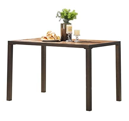 "Natural Wood & Recycled Elm 87 Inch Dining Tables Throughout Most Popular Amazon – O&k Furniture 48"" Large Vintage Rectangular Dining (View 16 of 20)"