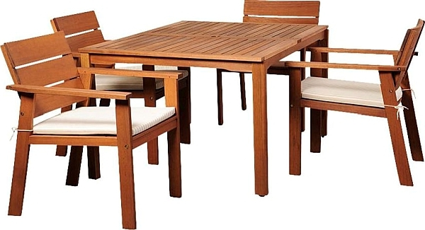 Nelson Eucalyptus 5 Piece Rectangular Patio Dining Set, Outdoor Within Trendy Helms 7 Piece Rectangle Dining Sets (View 9 of 20)