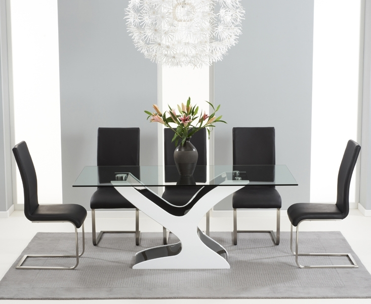 Nevada 180Cm Black And White High Gloss And Glass Dining Table With With Regard To Preferred Black High Gloss Dining Tables (View 14 of 20)