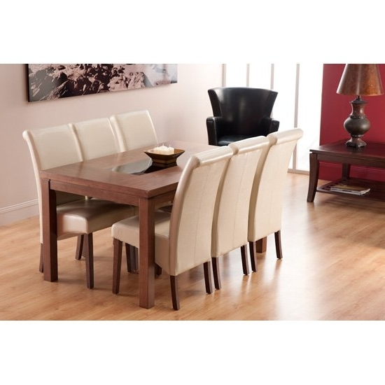 Nevada Dining Table And 6 Ivory Dining Chairs 15556 With Regard To Fashionable Walnut Dining Tables And 6 Chairs (View 9 of 20)