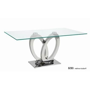 Newest 0858, China High Qulity Glass Dining Table With Clear Glass Top And Inside Glass And Stainless Steel Dining Tables (Gallery 5 of 20)