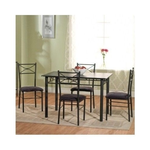 Newest 5 Piece Dining Room Set Black Upholstered Chair Table Wood Metal Intended For Valencia 5 Piece Round Dining Sets With Uph Seat Side Chairs (View 13 of 20)