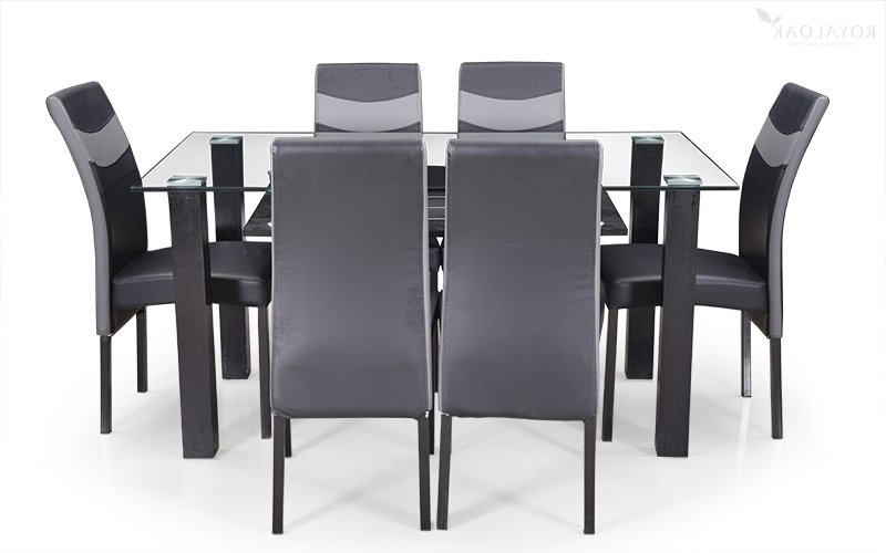Newest 6 Seater Glass Dining Table Sets Pertaining To Buy Royaloak Micra 6 Seater Dining Set With Tempered Glass Top And (View 14 of 20)