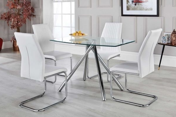 Newest Alexa White Dining Table Set With 4 Chairs – Free Delivery With Regard To White Dining Sets (Gallery 15 of 20)