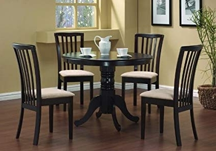 Newest Amazon – 5 Pc Round Dining Table 4 Chairs Chair Set Cappuccino Pertaining To Dining Table Chair Sets (View 4 of 20)