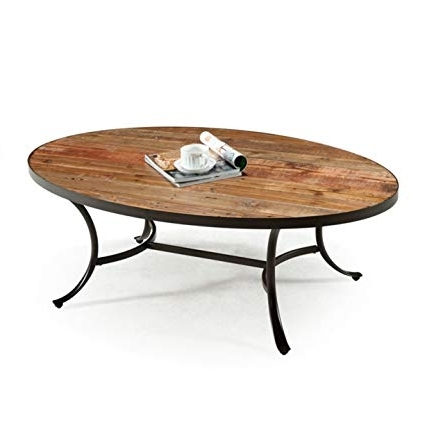 Newest Amazon: Emerald Home Berkeley Rustic Wood Coffee Table With Oval Intended For Oval Reclaimed Wood Dining Tables (Gallery 9 of 20)