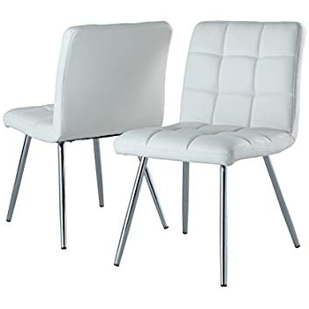 Newest Amazon: Monarch Specialties White Leather Look/chrome Metal 2 With White Leather Dining Chairs (View 12 of 20)
