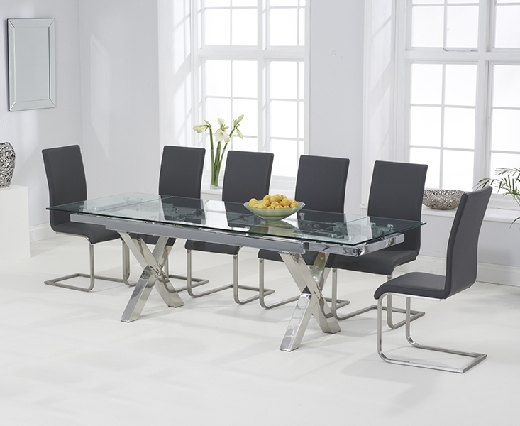 Newest April Glass 160cm Extending Dining Set With 6 Boston Grey Chairs With Regard To Grey Glass Dining Tables (Gallery 14 of 20)