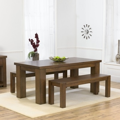 Newest Belgravia Dark Solid Oak 180Cm Dining Table With 2 Benches – Robson For Dining Tables And 2 Benches (Gallery 1 of 20)