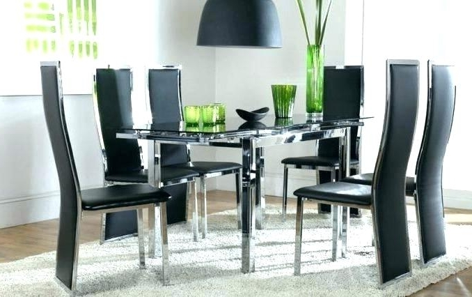 Newest Black And White Glass Dining Table Black Dining Room Table Sets Inside Glass Dining Tables Sets (Gallery 12 of 20)