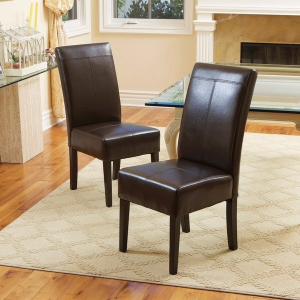 Newest Brown Leather Dining Chairs Pertaining To Shop T Stitch Chocolate Brown Leather Dining Chairs (Set Of 2) (Gallery 2 of 20)