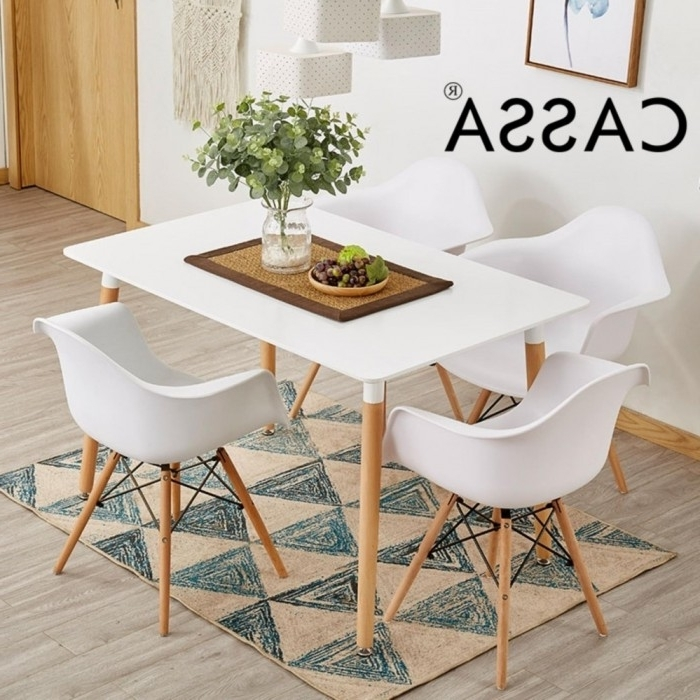 Newest Cassa Eames Dining Set Square Table 120X60 Cm Together With 4 Unit With Regard To Dining Tables 120X60 (Gallery 3 of 20)