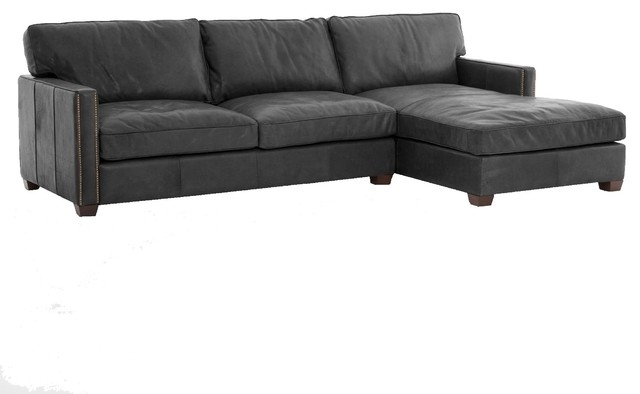 Newest Collins Sofa Sectionals With Reversible Chaise Regarding Collins Vintage Black Leather Left Arm Facing Sectional Sofa With (View 9 of 15)