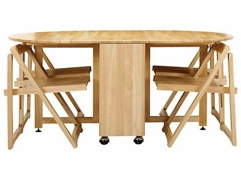 Newest Cool Collapsible Dining Table – Youtube Pertaining To Foldaway Dining Tables (Gallery 20 of 20)