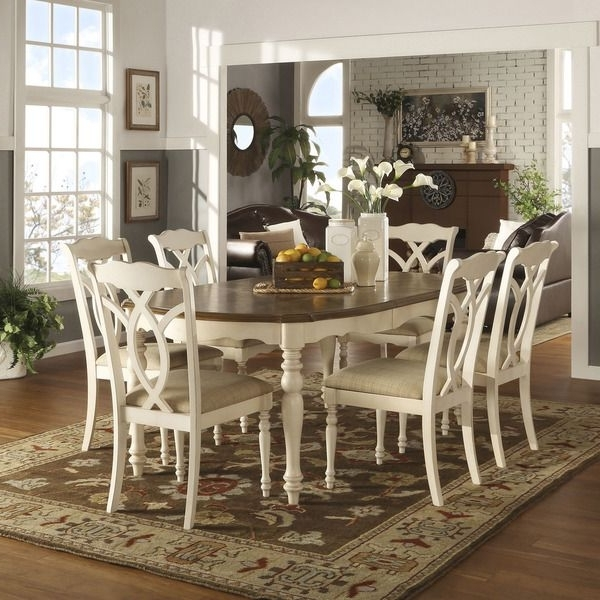 Newest Craftsman 7 Piece Rectangular Extension Dining Sets With Arm & Uph Side Chairs In Tribecca Home Shayne Country Antique Two Tone White 7 Piece (Gallery 19 of 20)