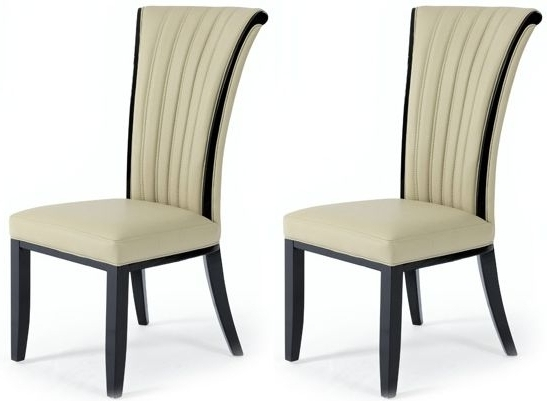 Newest Cream Leather Dining Chairs With Buy Almeria Cream Leather Dining Chair (Pair) The Furn Shop (View 13 of 20)