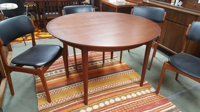 Newest Danish Modern Round Teak Dining Table With 2 Large Extensions For Round Teak Dining Tables (View 7 of 20)