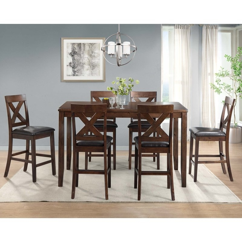 Newest Darby Home Co Makaila 7 Piece Counter Height Dining Set & Reviews Inside Candice Ii 7 Piece Extension Rectangle Dining Sets (View 14 of 20)