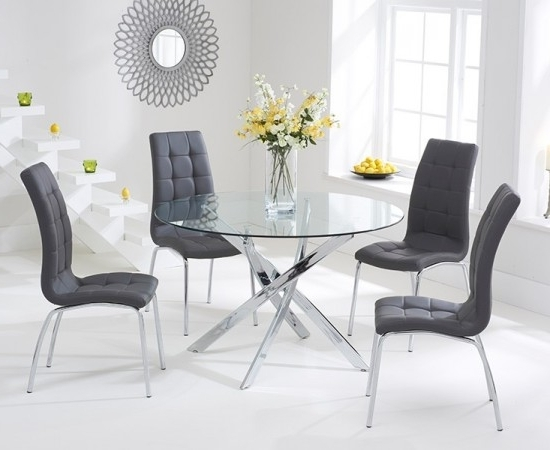 Newest Daytona 110 Cm Glass Dining Table + 4 California Chairs (View 8 of 20)
