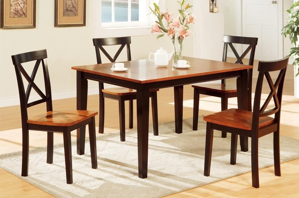 Newest Decorous Rubber Wood 5 Pieces Dining Set In 2 Tone Brownpoundex Within Laurent 5 Piece Round Dining Sets With Wood Chairs (View 19 of 20)