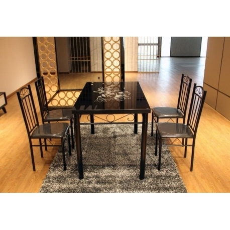 Newest Dining Tables Black Glass Regarding Modern Black Flower Design Dining Table Set Glass Top 4 Faux Leather (View 13 of 20)