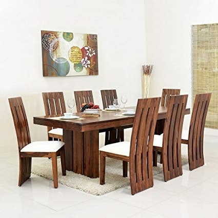 Newest Eight Seater Dining Tables And Chairs Within Homenilkamal Delmonte Eight Seater Dining Table Set (Brown (View 17 of 20)