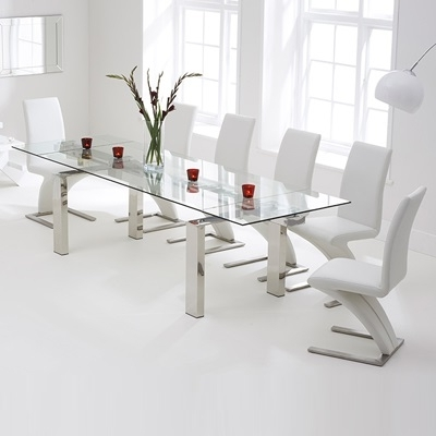 Newest Extending Glass Dining Tables And 8 Chairs With Lunar Glass Extending Dining Table With 8 Harvey White Chairs (Gallery 1 of 20)