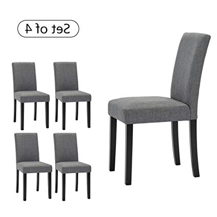 Newest Fabric Dining Chairs In Amazon – Lssbought Set Of 4 Classic Fabric Dining Chairs Dining (View 12 of 20)