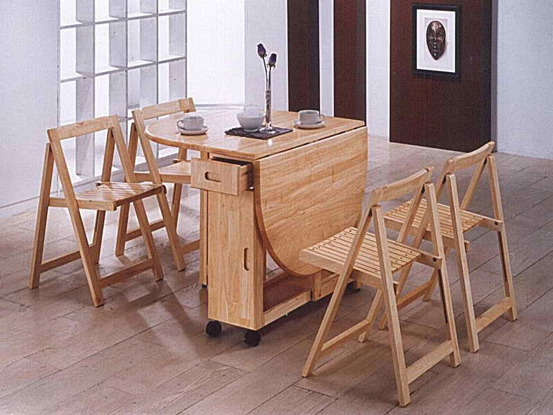Newest Folding Dining Table And Chairs Sets In Rustic Wooden Folding Dining Furniture Sets For Outdoor, Wooden (Gallery 3 of 20)