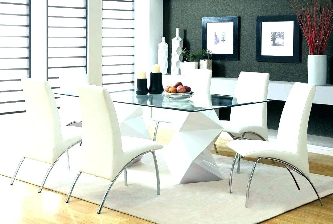 Newest Glass Dining Table And 6 Chairs To 8 Extendable Top Throughout Sets Within Glass Dining Tables With 6 Chairs (Gallery 19 of 20)