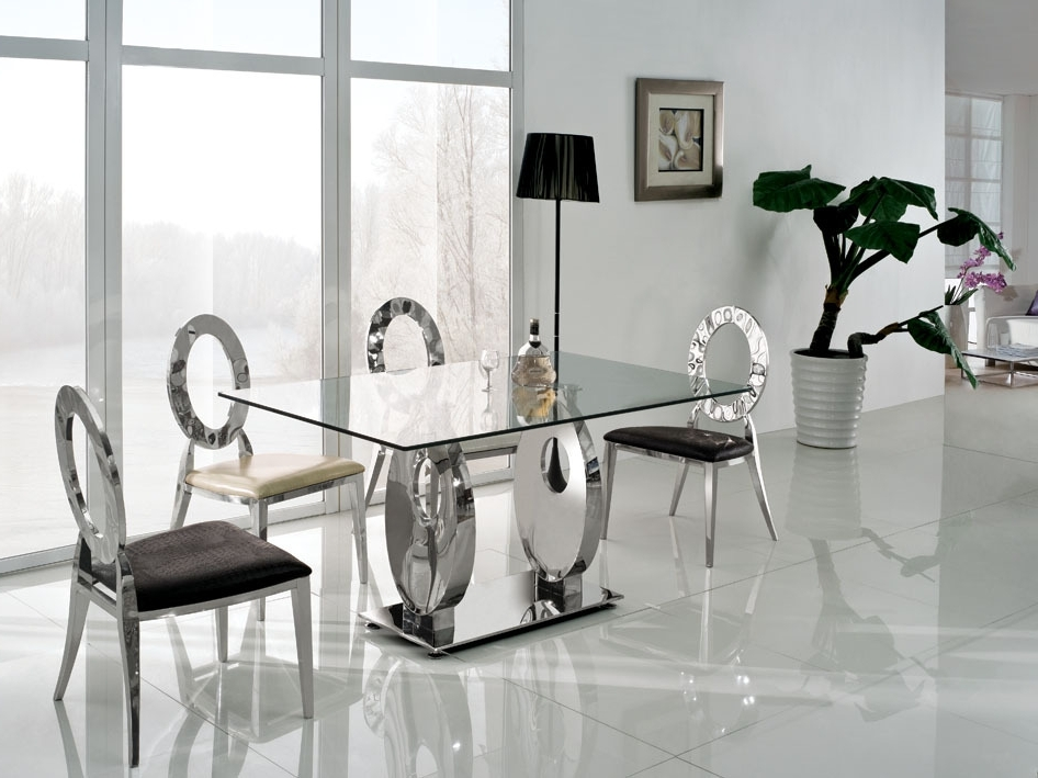 Newest Glass Dining Tables Sets Within Dining Room Modern Glass Dining Table Extending Glass Table And (View 12 of 20)