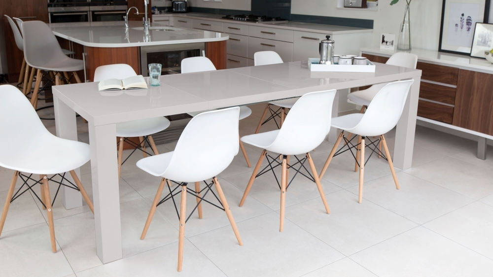 Newest Grey Dining Tables Intended For Grey Gloss Extending Dining Table And Eames Dining Chairs (View 15 of 20)