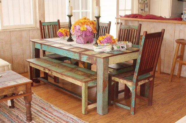 Newest Indian Dining Tables Throughout Indian Reclaimed Wood Dining Set – Mediterranean – Dining Room – Los (Gallery 19 of 20)